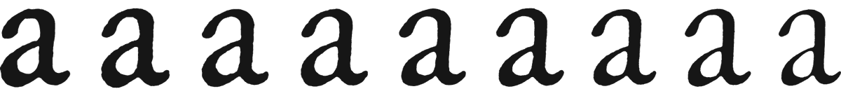 ATF Garamond at 6, 8, 10, 12, 14, 16, 18, 24 and 72 pt
